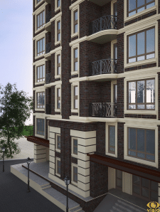 Визуализация экстерьера 10 этажного дома 6
